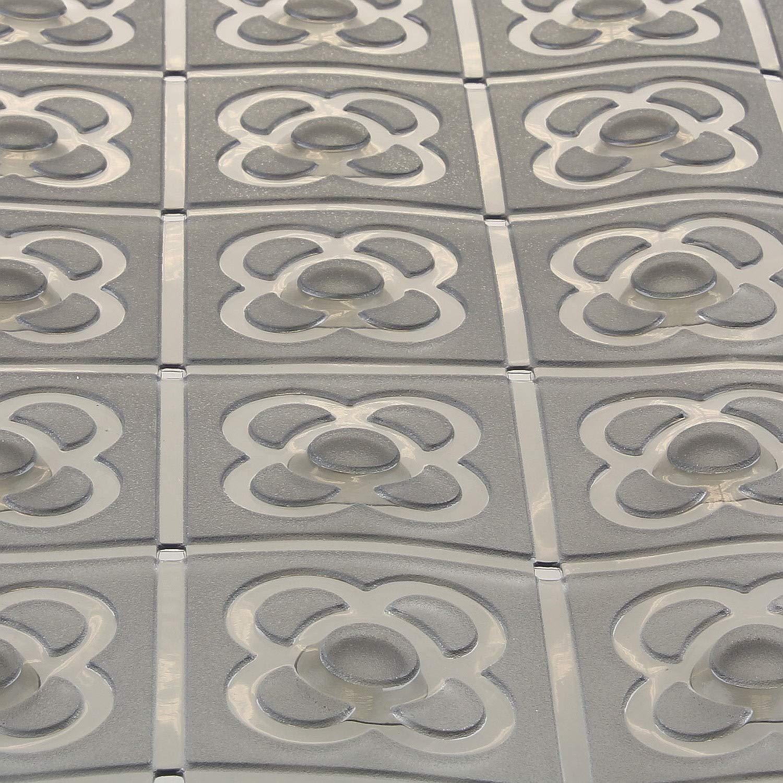 Sanixa TA551106 Gris Color Gris Alfombrilla de Ducha Rectangular Antideslizante Antideslizante con Ventosa para Accesorios de ba/ño Alfombrilla para ba/ñera 72 x 36 cm