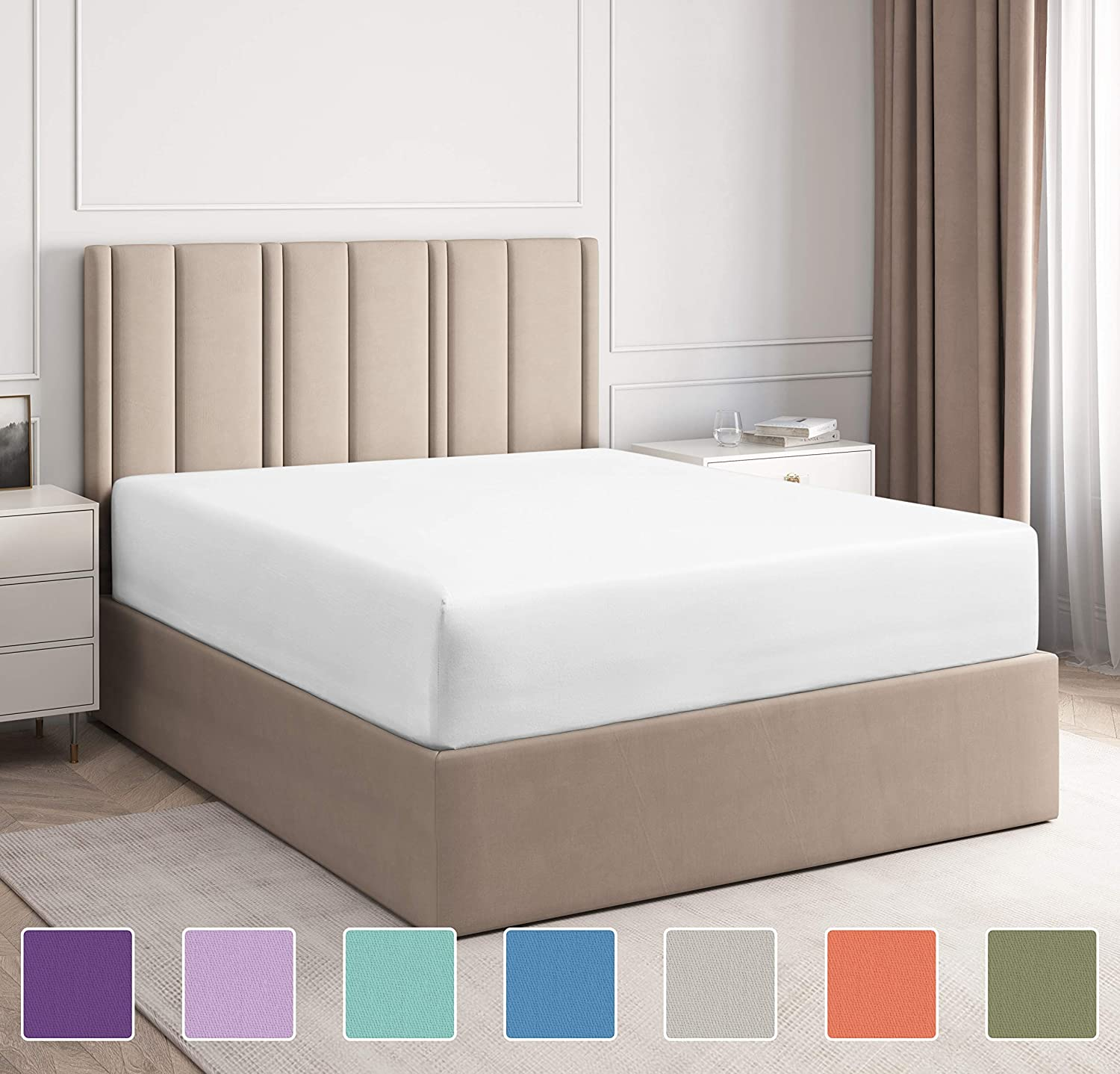 King Size Fitted Sheet - Single Fitted Sheet King - King Fitted Sheet Only - Fitted Sheet Deep Pocket - Fitted Sheet for King Mattress - Softer Than Egyptian Cotton - King - 1 Fitted Sheet Only King