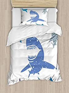 Ambesonne Shark Duvet Cover Set, Grunge Style Big and Small Sharks with Open Mouths Predator Jaws Dangerous Image, Decorative 2 Piece Bedding Set with 1 Pillow Sham, Twin Size, Blue