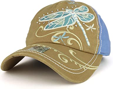 Dragonfly Embroidered Cotton Cap NEW