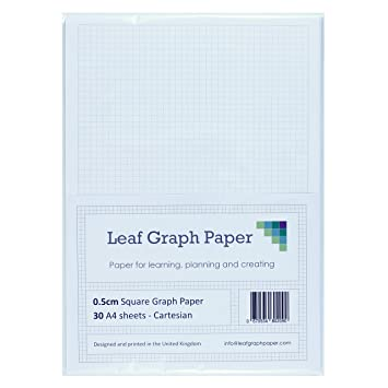 A4 Graph Paper 5mm 0 5cm Squared Cartesian - 30 Loose-Leaf Sheets - Grey  Grid