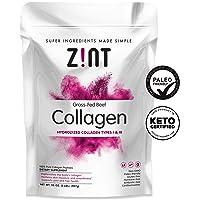 Zint Collagen Peptides Powder (32 oz): Paleo-Friendly, Keto-Certified, Grass-Fed Hydrolyzed Collagen Protein Supplement - Unflavored, Non GMO
