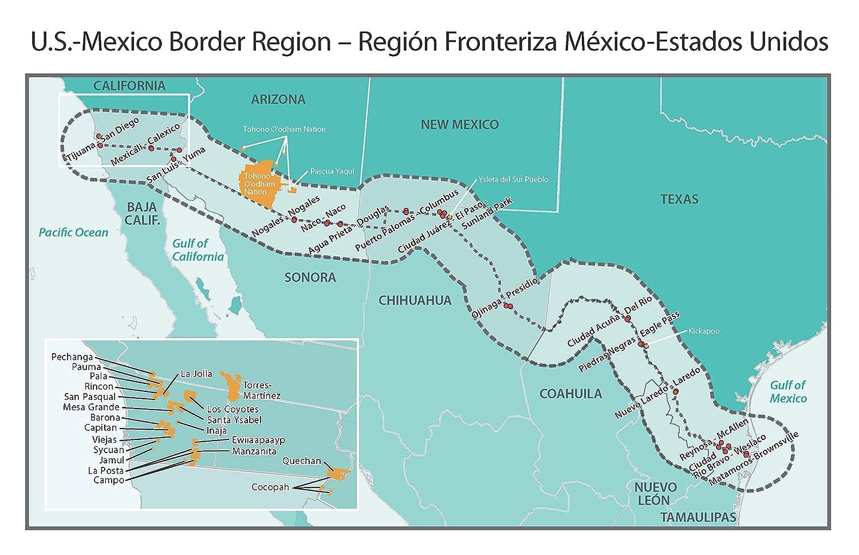 Amazon.com: Home Comforts Laminated Map - Mexico Us Border ...