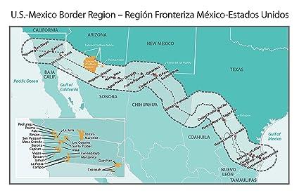 Amazon.com: Home Comforts Laminated Map - Mexico Us Border Cities ...