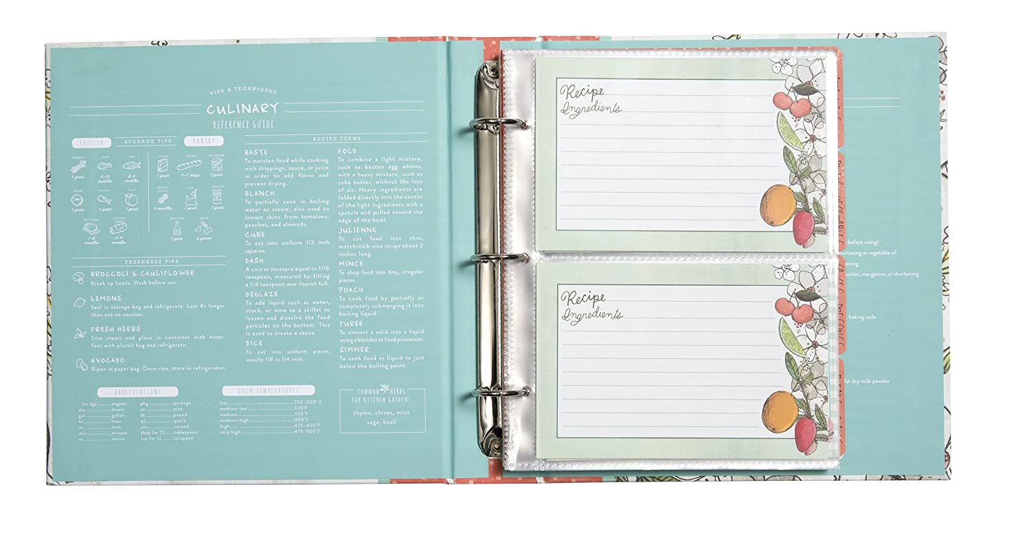 Amazon.com: C.R. Gibson Recipe Book, Durable 3-Ring Binder, Holds 40 ...