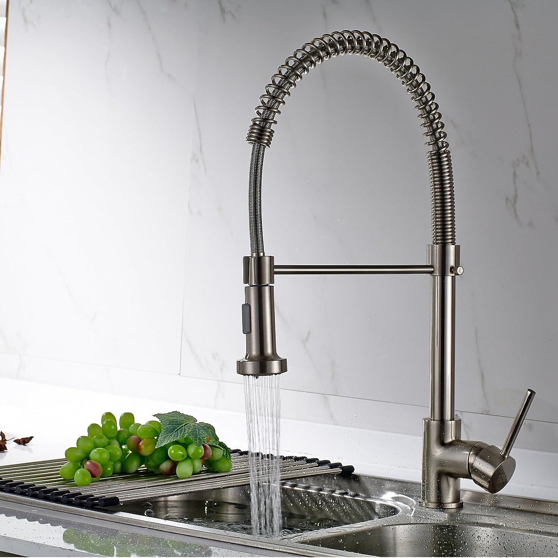 Timaco Wasserhahn Küche Einhandmischer für Küchen Spüle Gebürsteter