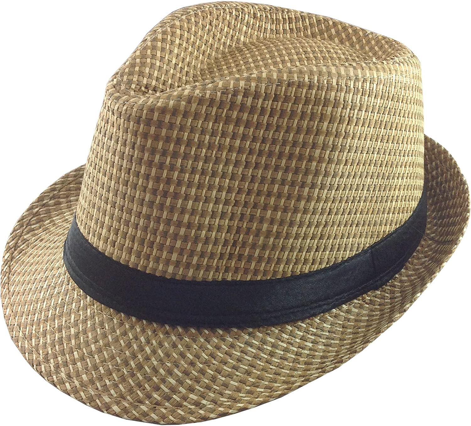 TieCastle Natural Woven Straw Fedora Hat with Black Band