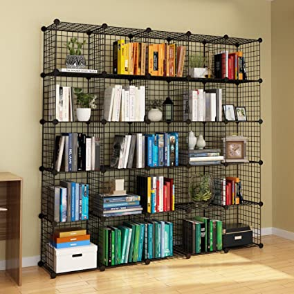 KOUSI Wire Cube Storage Origami Shelves Metal Grid MultiFuncation Shelving  Unit Modular Cubbies Organizer Bookcase,
