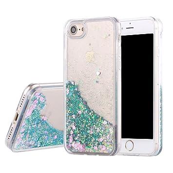 Vodico for iPhone 7 Plus [5 5inch] Case, (TM) Liquid Case, Fashion Creative  Design Flowing Liquid Floating Luxury Bling Glitter Sparkle Diamond Love