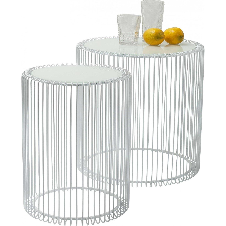 Beistelltisch Wire White 2er Set, Weiß, runder, moderner Glastisch ...
