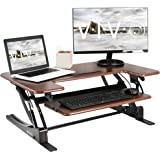 VIVO Dark Wood Height Adjustable 36 inch Stand Up Desk Converter, Quick Sit to Stand Tabletop Dual Monitor Riser Workstation,