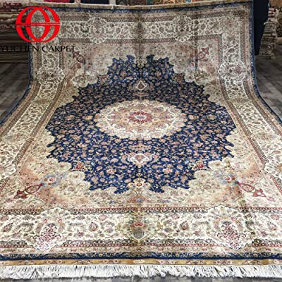 Silk Persian Rugs 9x12 Blue Turkish Area Rugs For Living Room Yuchen Carpet