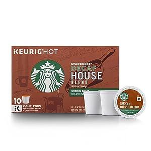 Starbucks Decaf House Blend Medium Roast Single Cup Coffee for Keurig Brewers, 10 Count