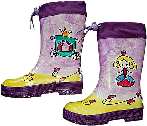 Maximo Babygummistiefel Kindergummistiefel Gefüttert Mädchen Lila Motiv Prinzessin Hanbemalt Jeder Stiefel Ein Unikat Amazon De Schuhe Handtaschen