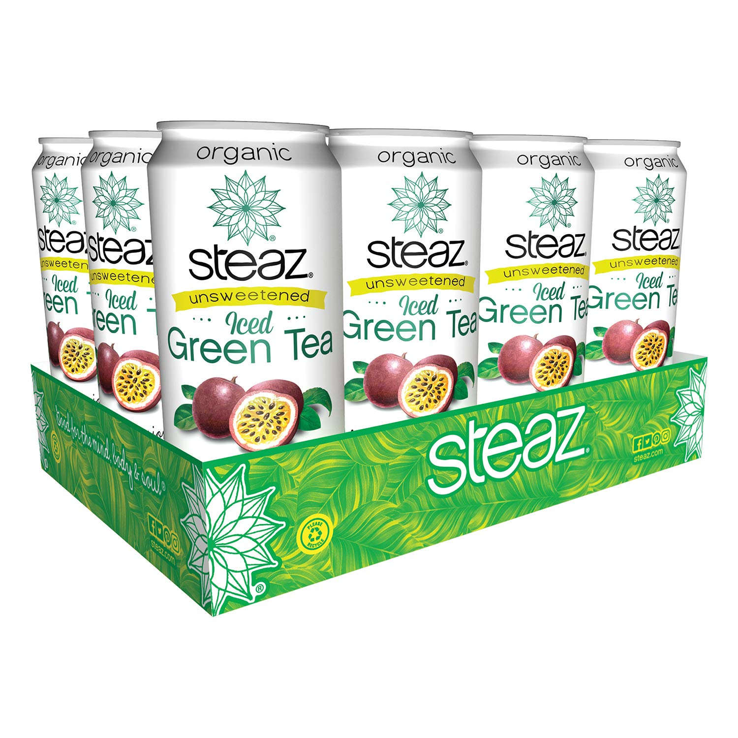 Steaz Unsweetened Iced Green Tea,, 16 OZ (Unsweetened Passionfruit) by Steaz