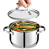 GOURMEX Tango Induction Casserole | Stainless Steel Pot With Glass Cookware Lid | Interior Measurement Markings | Compatible