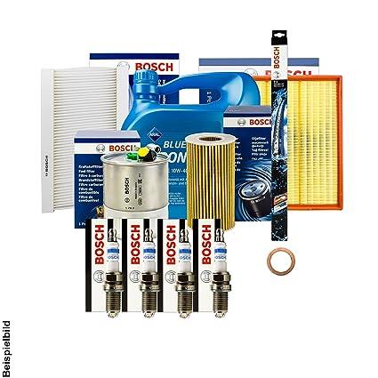 Bosch filtro + Velas + Junta + 4 L Aral 10 W-40 Aceite + ...
