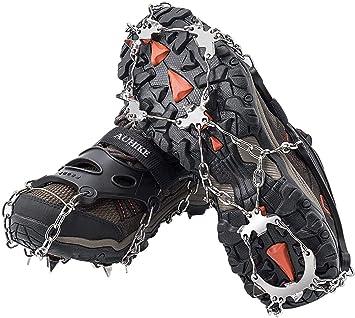 AUHIKE 19 Garras de Dientes Crampones Cubierta Antideslizante de Zapatos con Cadena de Acero Inoxidable para Excursiones Pesca Escalada Trotar ...