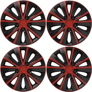 UKB4C 4 x Back /& Red Alloy Look Wheel Trims Hub Caps 14 fits Renault Clio Megane Twingo
