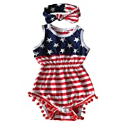 Qin.Orianna 4th of July Toddler Baby Girl American Flag Tassel Romper with Headband (0-6M/Small, Red)