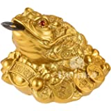 BWINKA Feng Shui Denaro Lucky Frog Coin Toad/Chan Chu Chinese Charm of Prosperity Home Decoration Gift (Idea for Office Desk, Computer, Book/TV Shelf, And Cashier Registration Area Display)