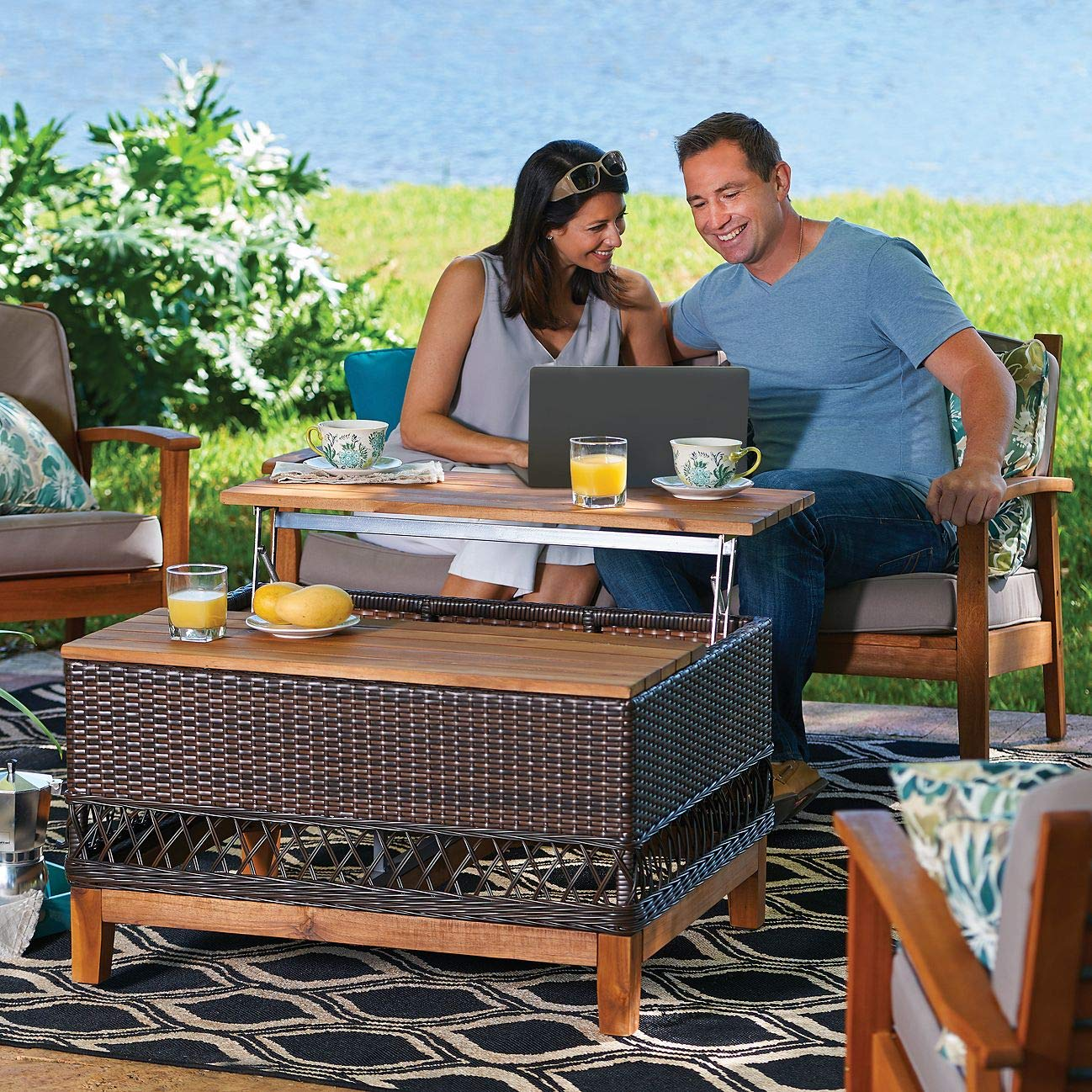 TisYourSeason Wicker Outdoor Coffee Table with Storage and Slatted Acacia Tropical Hardwood Lift-up Top Patio Furniture