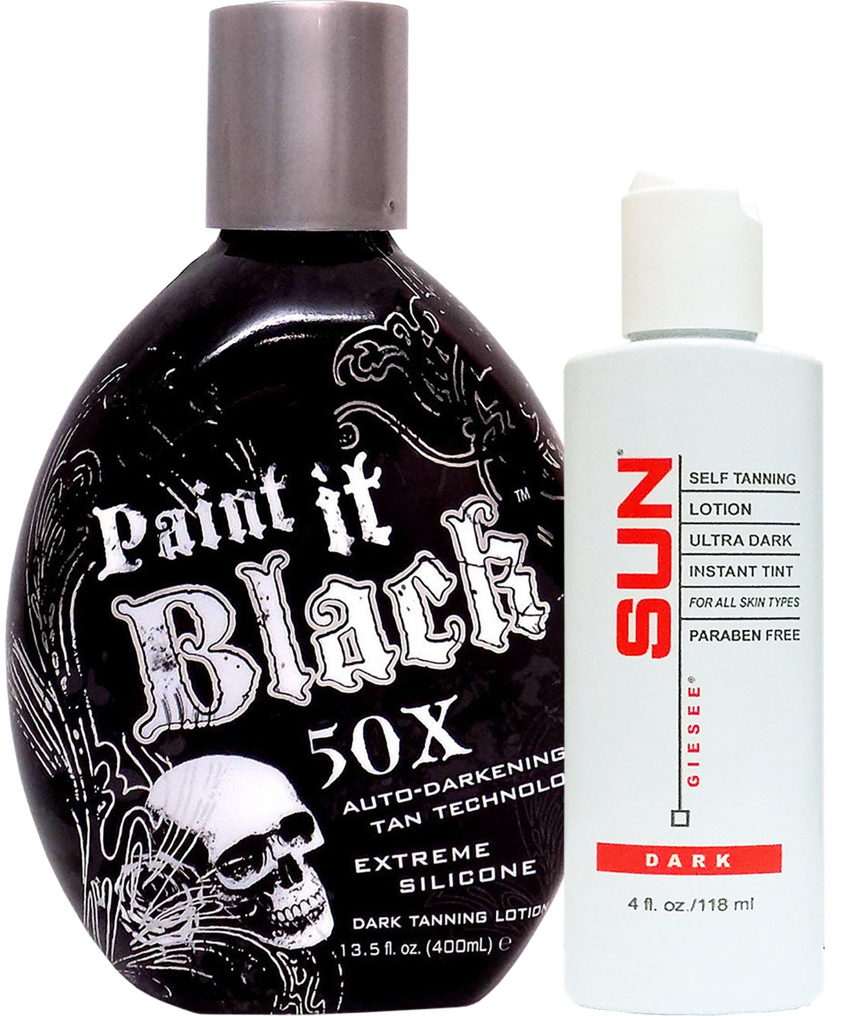 Millennium Tanning Paint It Black 50X,13.5 Oz + Dark Self Tanner 4 Oz