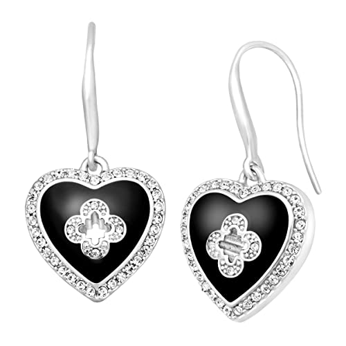 Marie Claire Heart Drop Earrings with Swarovski Crystals in Sterling Silver-Plated Brass