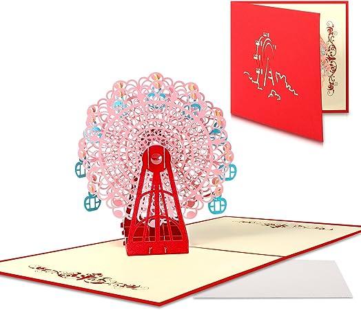 Anniversario Di Matrimonio Disegni.Biglietti D Auguri Disegno Della Ruota Panoramica 3d Pop Up Carta