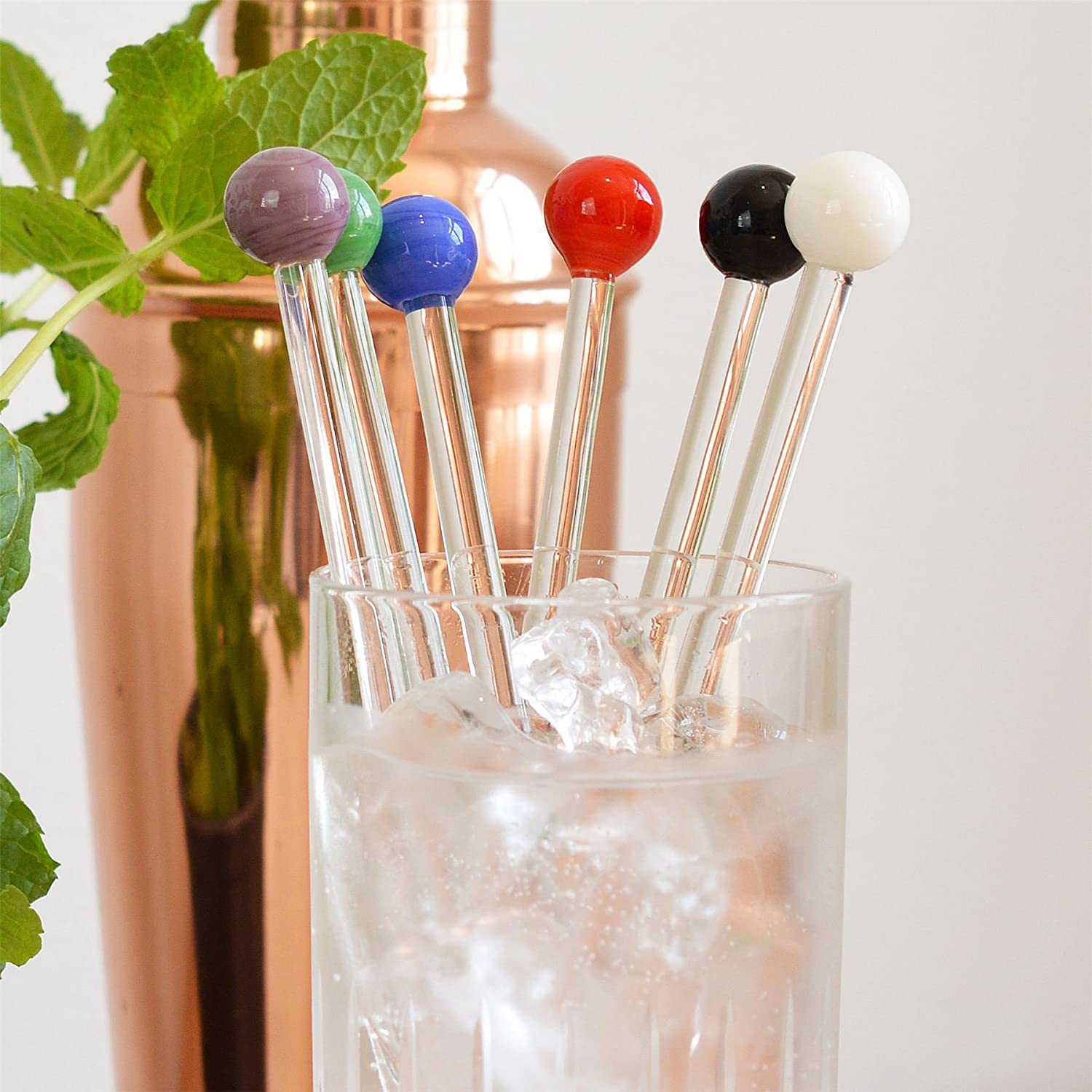 Rink Drink Gin Cocktail Glass Swizzle Sticks Pack Of 6 Multi Coloured Stirrers