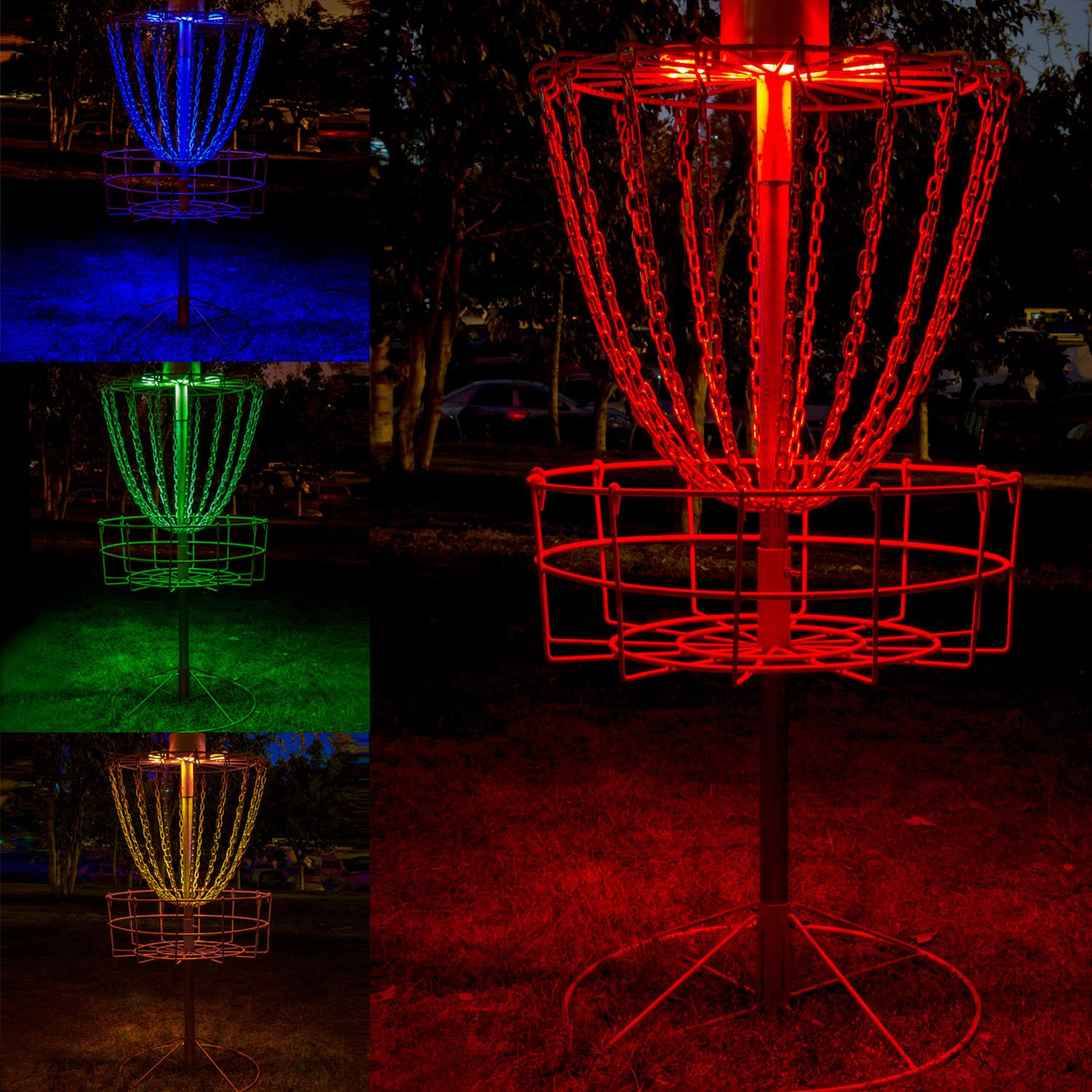 Disc Golf Basket Lights, Water Proof Multi Color LED Lights with Remote Control Color Changing Modes, And Velcro To Attach, Basket Not Included (2 Led Lights)