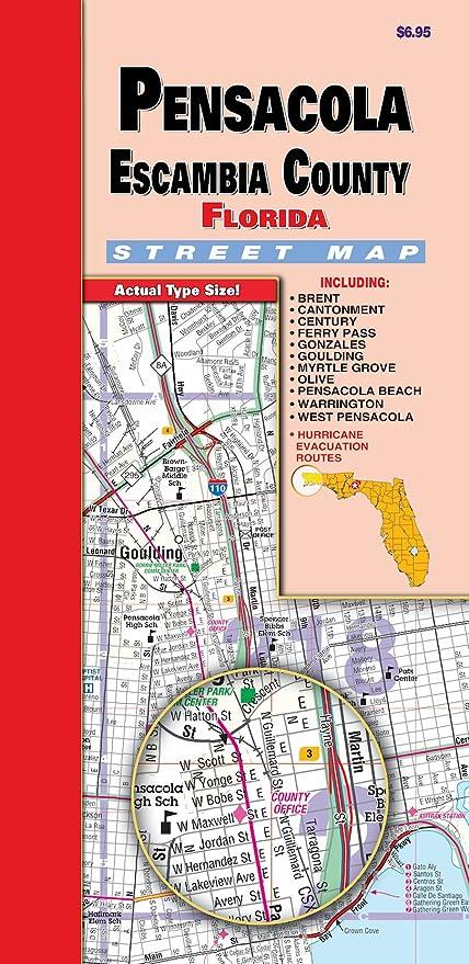 Pensacola Beach Florida Map.Amazon Com Pensacola Escambia County Fl Fold Map Office Products