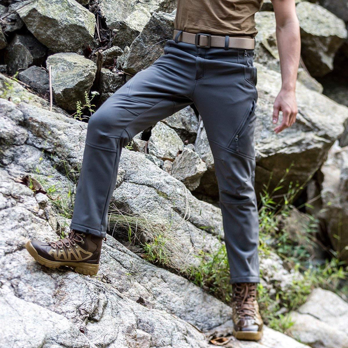 FREE SOLDIER para Escalada y Senderismo Impermeables y Cortavientos Pantalones Softshell para Hombre con Forro