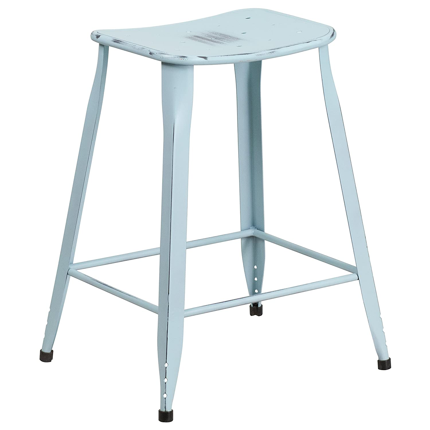 Amazon.com: Flash Furniture 23.75\'\' High Distressed Green-Blue Metal ...