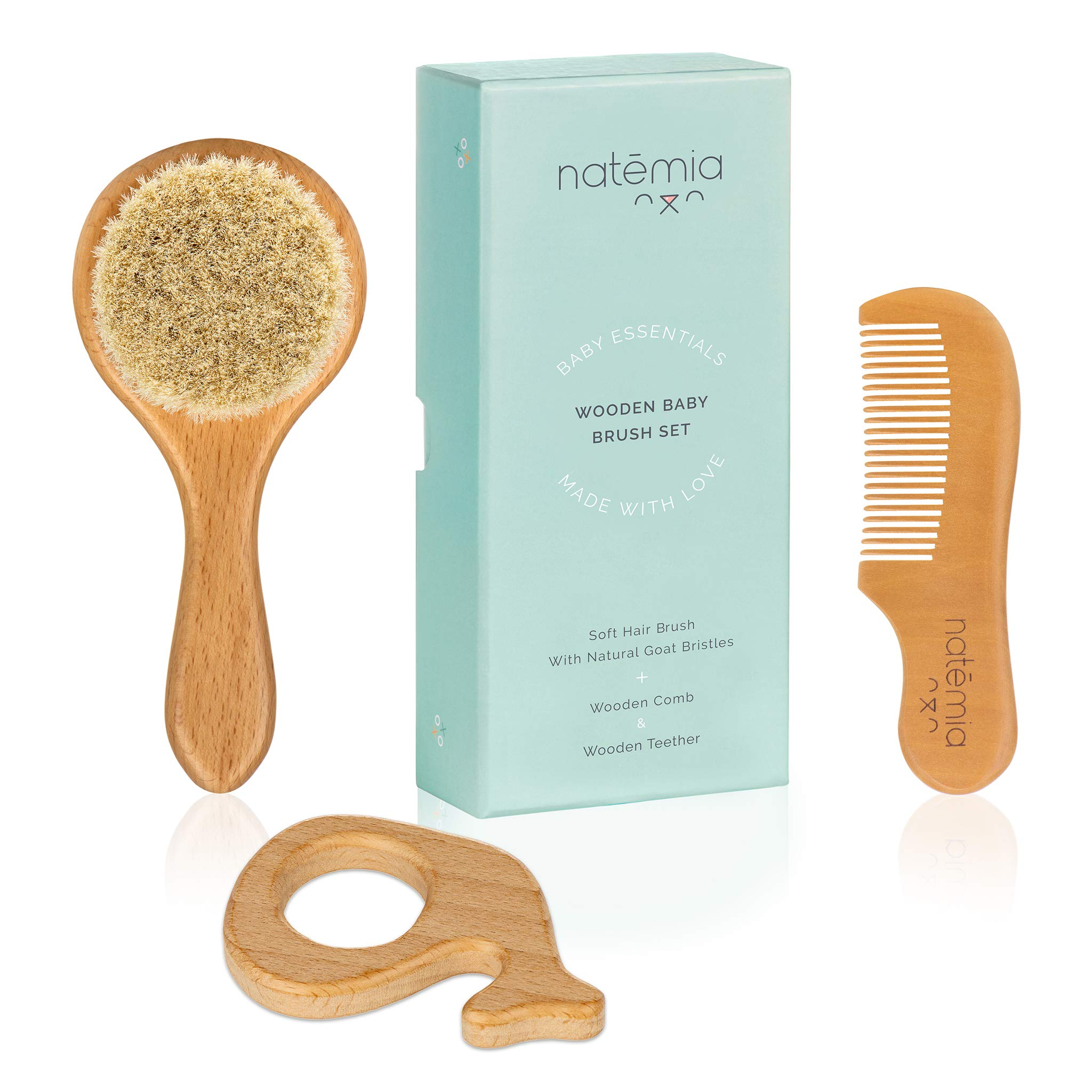 Natemia Wooden Baby Hair Brush and Teether Set for Newborns and Toddlers - Ideal for Cradle Cap by Natemia