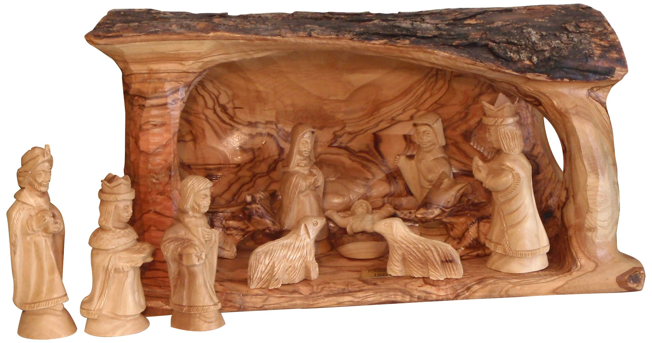 Earthwood Olive Wood Solid Branch Stable with Traditional Nativity Set