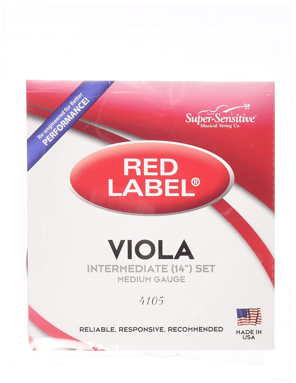 Super-Sensitive 4105 Red Label Full Core Intermediate 14-Inch Viola Strings, Set of 4, Medium