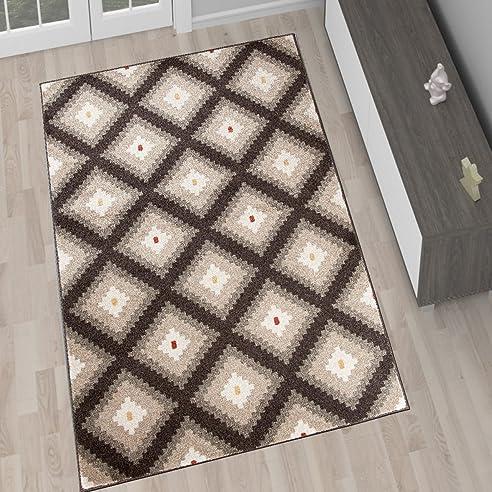Amazon.De: Designer Teppich Wohnzimmer Teppich Kurzflor Braun