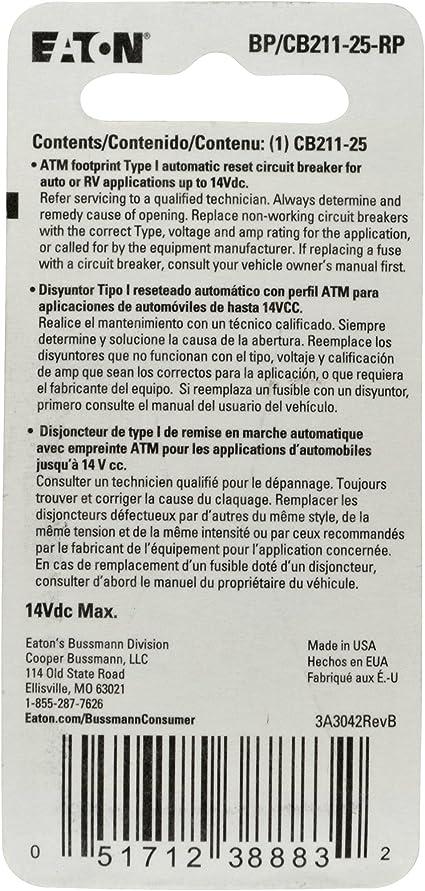 1 Pack 25 Amp Bussmann CB233-25 Type III ATM Footprint Automotive Circuit Breaker White