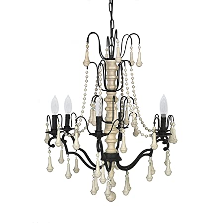 Creative co op iron chandelier with wood beads and 6 light 36 creative co op iron chandelier with wood beads and 6 light 36quot aloadofball Images