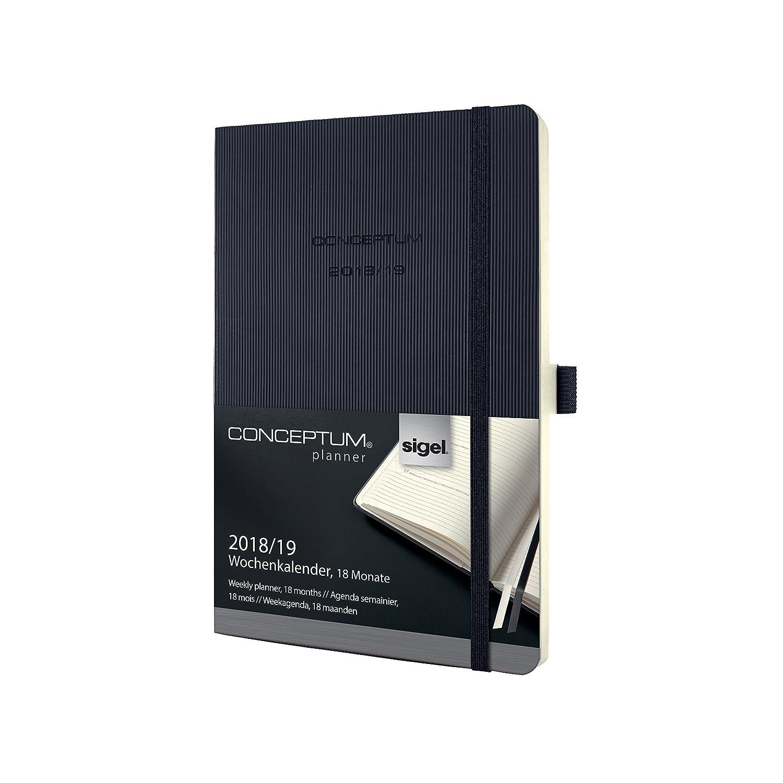Sigel C1907 Conceptum Agenda semainier 18 mois 2018/2019 couverture souple 9,3 x 14 cm Noir