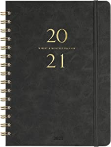 """2021 Planner - Weekly & Monthly Planner with Monthly Tabs, 6.3"""" x 8.4"""", Smooth Faux Leather & Flexible Cover with White Paper, January 2021-December 2021, Wirebound, Gray"""