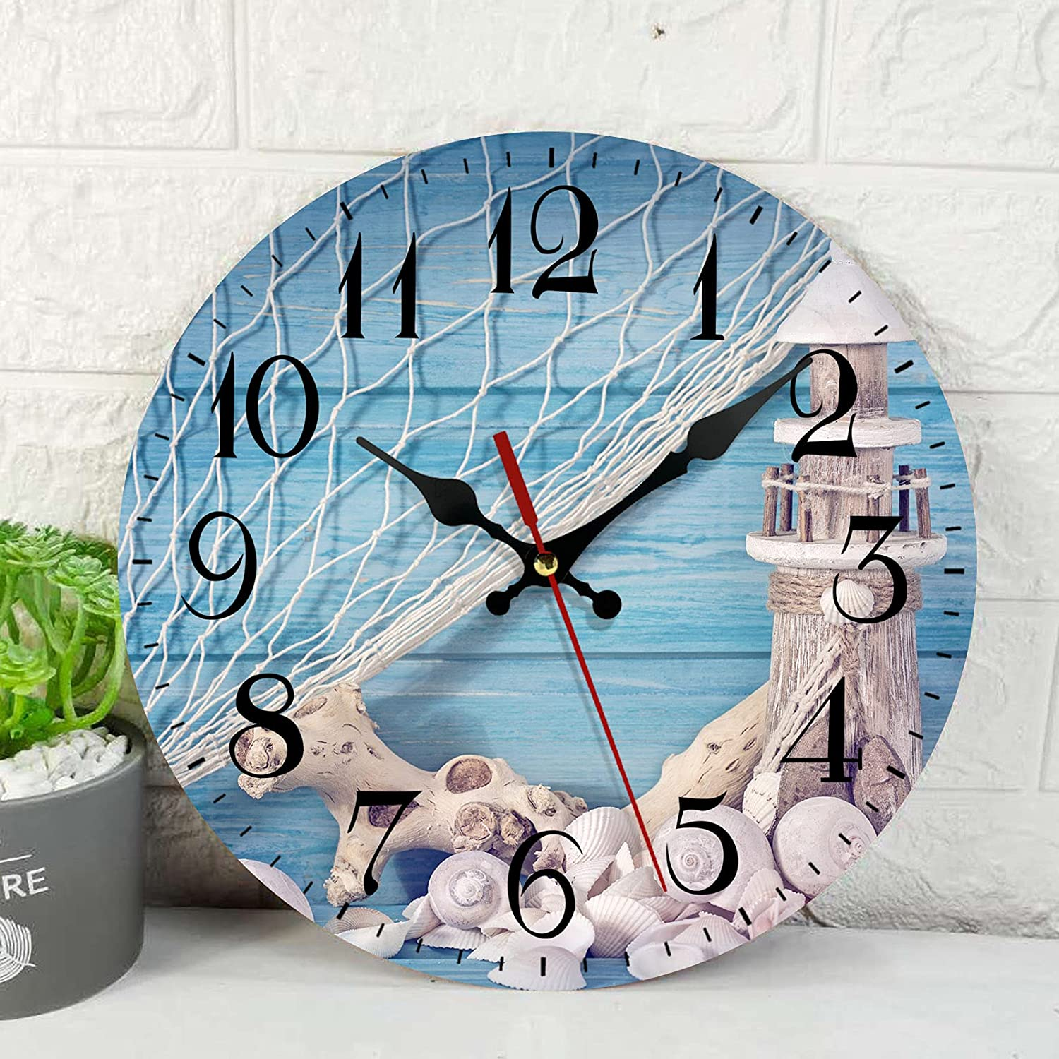 Wooden Wall Clock Silent Non-Ticking , Blue Shabby Shell Beach Net Sea Seastar Vintage Round Wall Clocks Decor for Home Kitchen Living Room Office, Battery Operated(12 Inch)