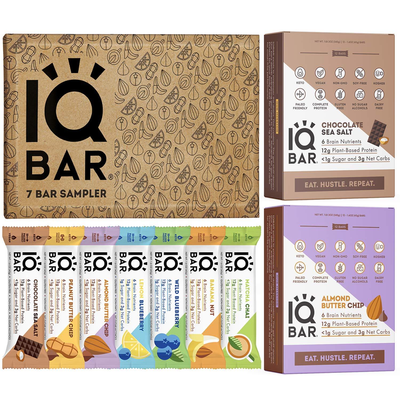 IQBAR Protein Bar Bundle (31 Protein Bars) - Gluten Free, Dairy Free, Vegan, Keto Snacks - (12) Chocolate Sea Salt + (12) Almond Butter Chip + (7) Bar Sampler - Low Carb Snacks