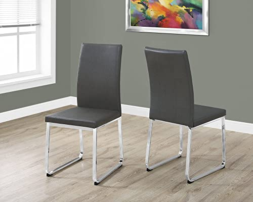 FurnitureMaxx 38″ H Grey Leather-Look and Chrome Dining Chair