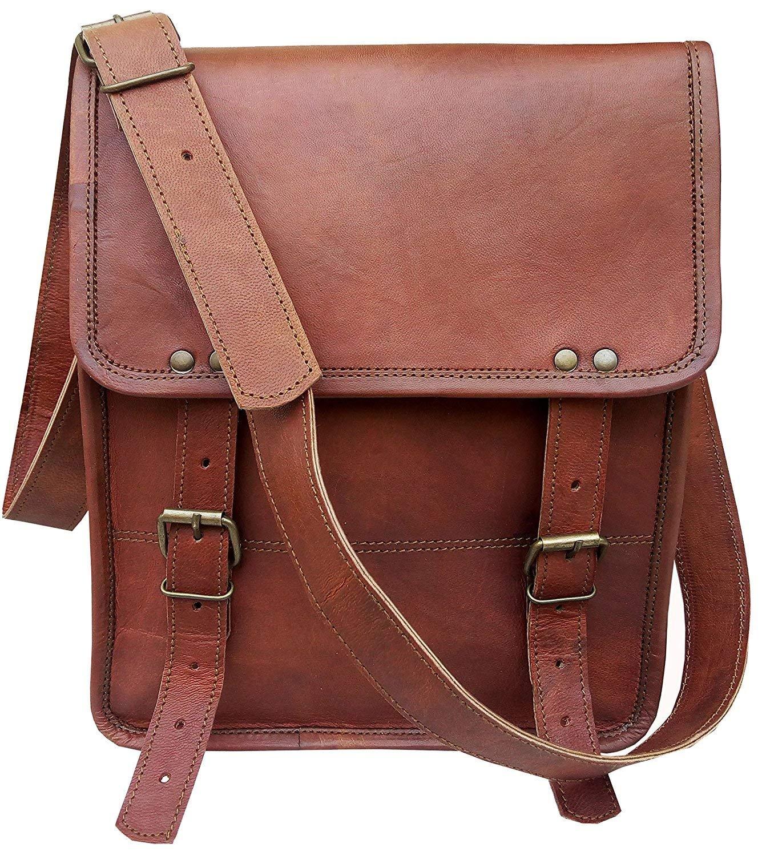 11 Inch Leather Vintage Crossbody Messenger Satchel Bag Gift Men Women ~ Business Work Briefcase Laptop Carry IPad Book