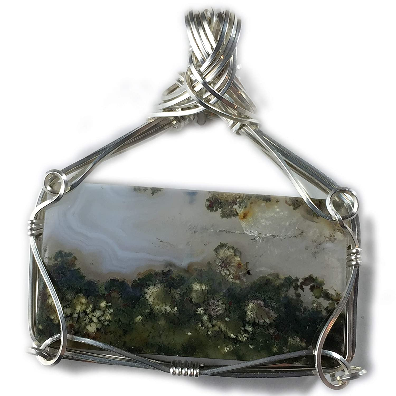 FREE GIFT BOX Moss Agate Women 925 Sterling Silver Pendant