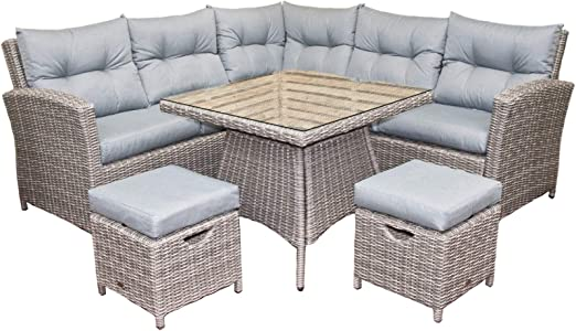 Outdoor Patio Couch Set, Oren Athens 5 7 Seater Rattan Lounge High Back Corner Sofa Set Grey Flat Weave With Grey Cushions Amazon Co Uk Garden Outdoors