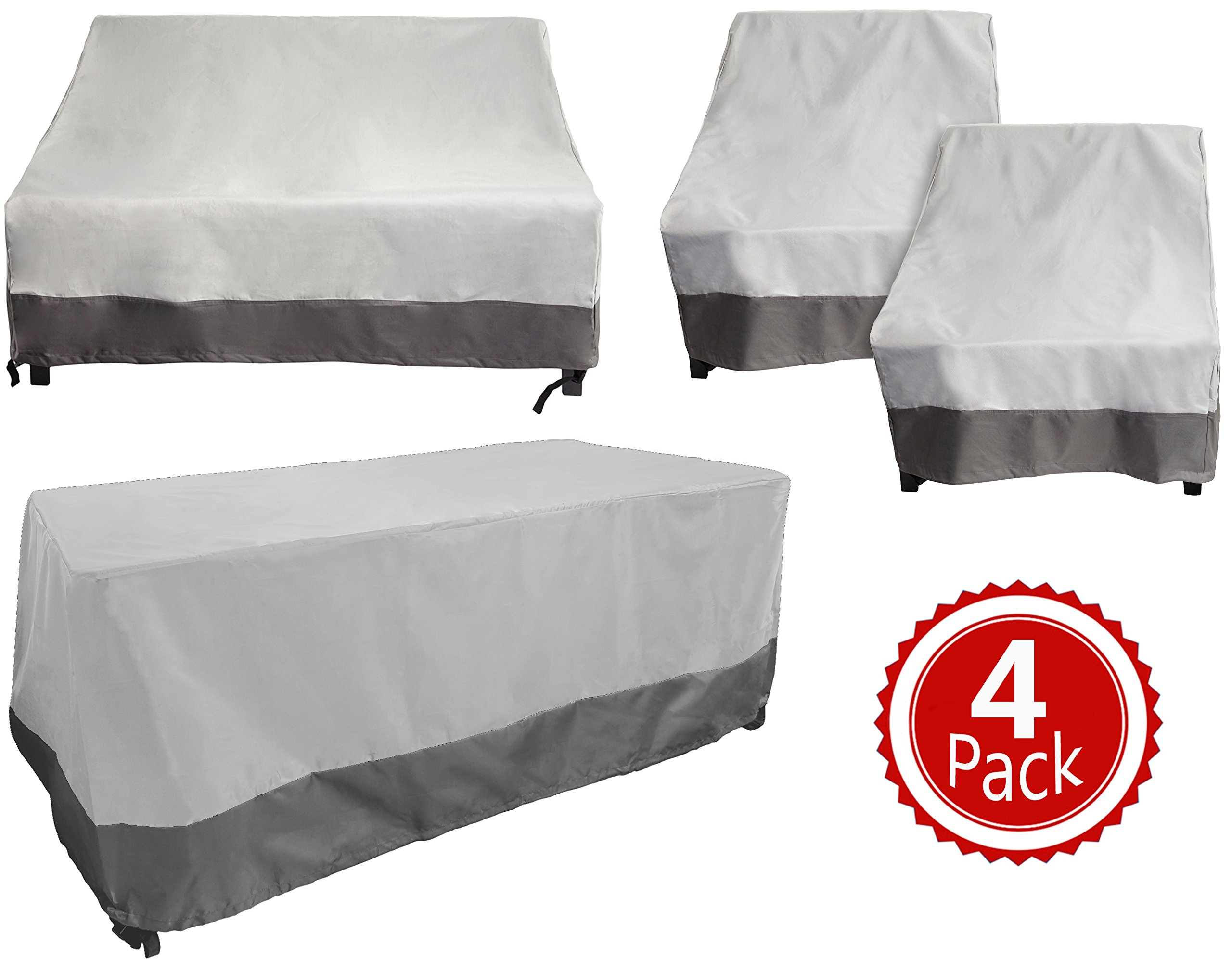 Reusable Revolution 4 Piece Outdoor Chair, Couch and Table Cover Set - Patio Furniture Weather Protection Cover Set (Grey)