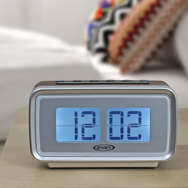 Amazon.com: Jensen JCR-232 AM/FM Dual Alarm Clock with Digital Retro ...